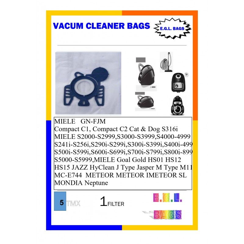 Vacuum cleaner bags for MIELE  MPLE GN+FJM 5pieces+1filter