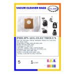 PHILIPS-AEG-ELECTROLUX Σακουλες ηλεκτρικης σκουπας-5τεμαχια+1φιλτρο